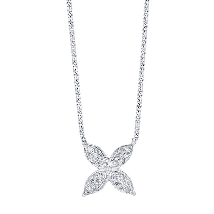 9ct White Gold 0.10ct I2 Diamond Necklet - Product number 5117461