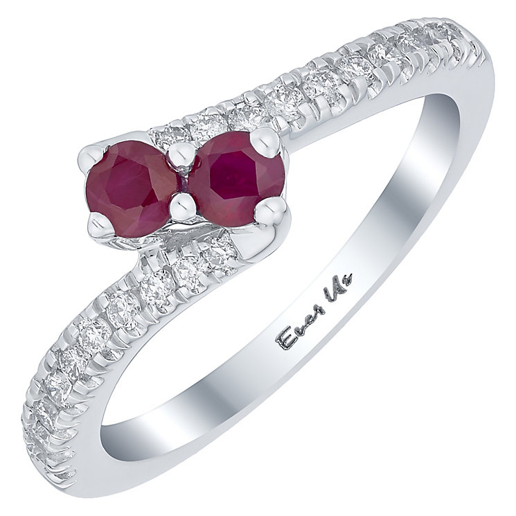 Ever Us 14ct White Gold Ruby & 0.20ct I2 Diamond Ring - Product number 5117496