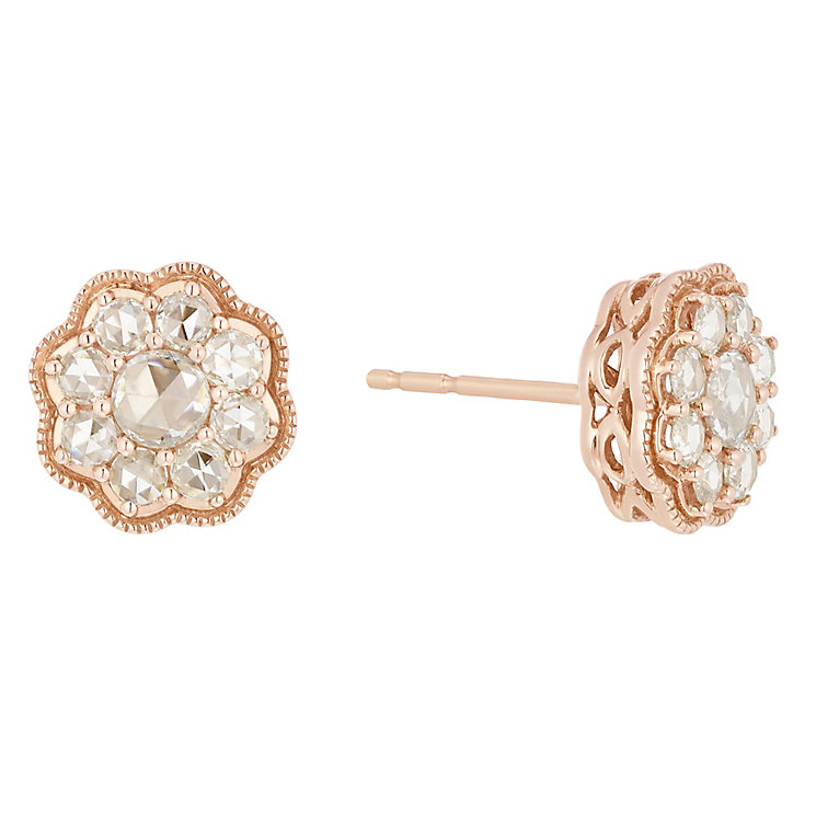 18ct Rose Gold 0.60ct I2 Rose Cut Diamond Earrings - Product number 5117968