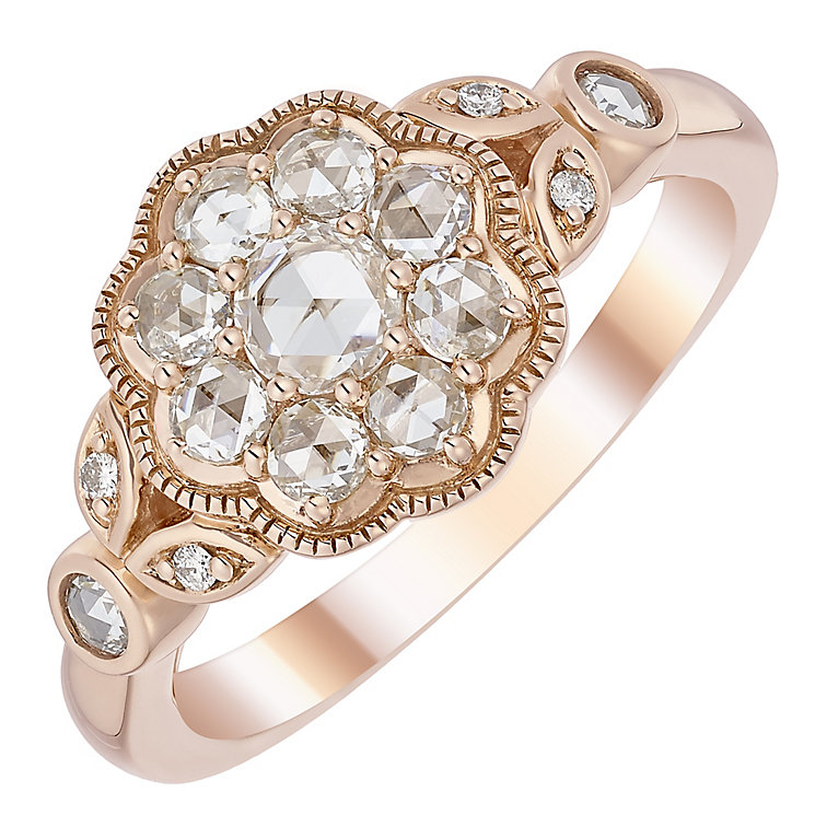 18ct Rose Gold 0.50ct I2 Rose Cut Diamond Ring - Product number 5118034