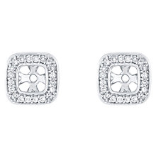 9ct White Gold 0.12ct Pave Cushion Diamond Earring Jacket - Product number 5118115