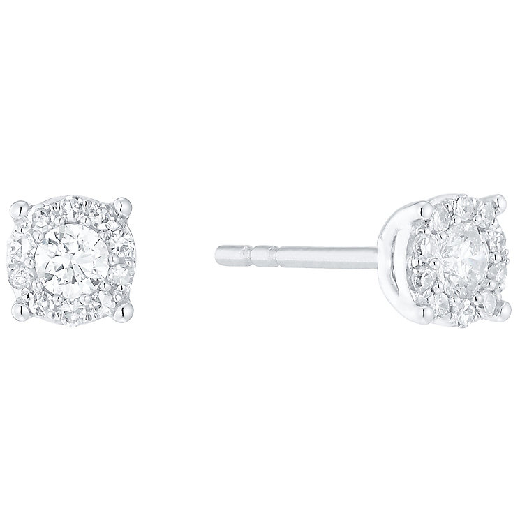 9ct White Gold 0.25ct Diamond Halo Earrings - Product number 5118166