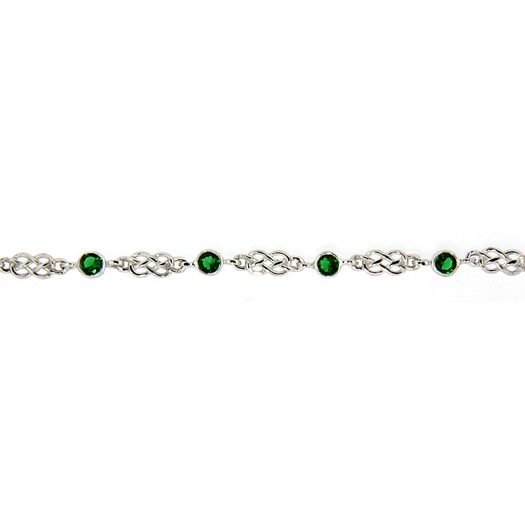 Cailin Sterling Silver Green Cubic Zirconia Celtic Bracelet - Product number 5119979