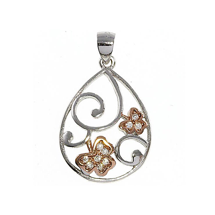 Cailin Sterling Silver & Rose Gold-Plated Clover Pendant - Product number 5120047