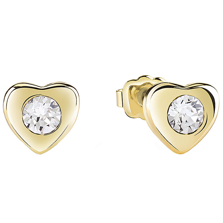 Guess Gold-Plated Stone Set Little Heart Stud Earrings - Product number 5120640