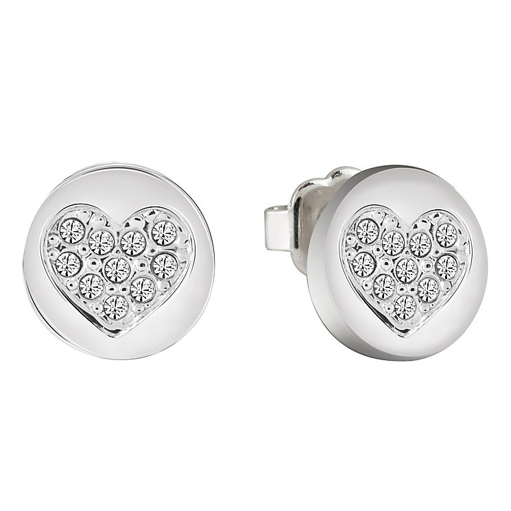 Guess Rhodium-Plated Little Sparkle Heart Stud Earrings - Product number 5120802