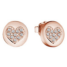 Guess Rose Gold-Plated Sparkle Heart Stud Earrings - Product number 5120829