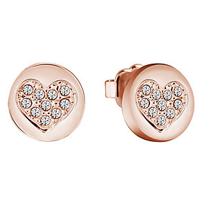 Guess Rose Gold-Plated Little Sparkle Heart Stud Earrings - Product number 5120829