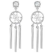 Guess Quattro G Rhodium-Plated Tasselled Drop Earrings - Product number 5120896