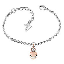 Guess Rhodium & Rose Gold-Plated Heart Charm Bracelet - Product number 5121051