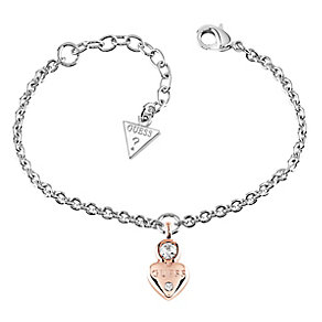 Guess Rhodium & Rose Gold-Plated Little Heart Charm Bracelet - Product number 5121051