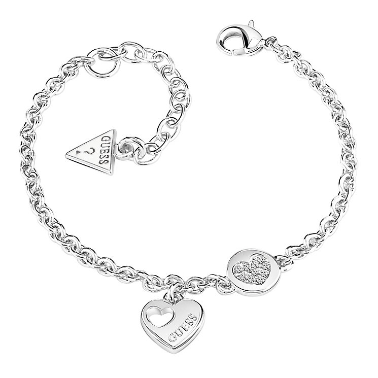 Guess Rhodium-Plated Sparkle Heart Coin Adjustable Bracelet - Product number 5121124