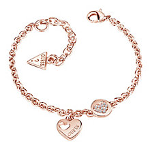 Guess Rose Gold-Plated Little Sparkle Heart Coin Bracelet - Product number 5121140