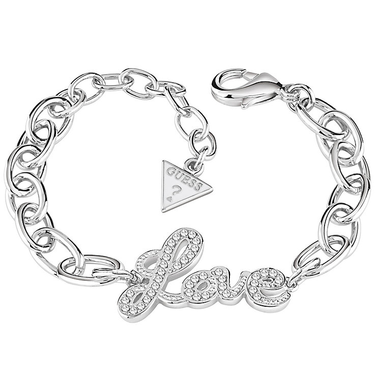 Guess Rhodium-Plated Stone Set Love Lock Bracelet - Product number 5121175