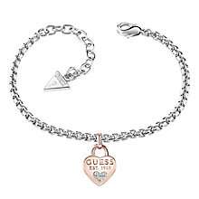 Guess 1981 Rhodium & Rose Gold-Plated Heart Bracelet - Product number 5121205