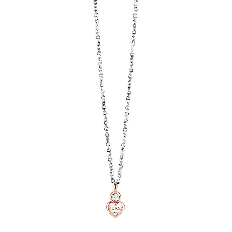 "Guess Rhodium & Rose Gold-Plated Little Heart Pendant 16-18"" - Product number 5121256"