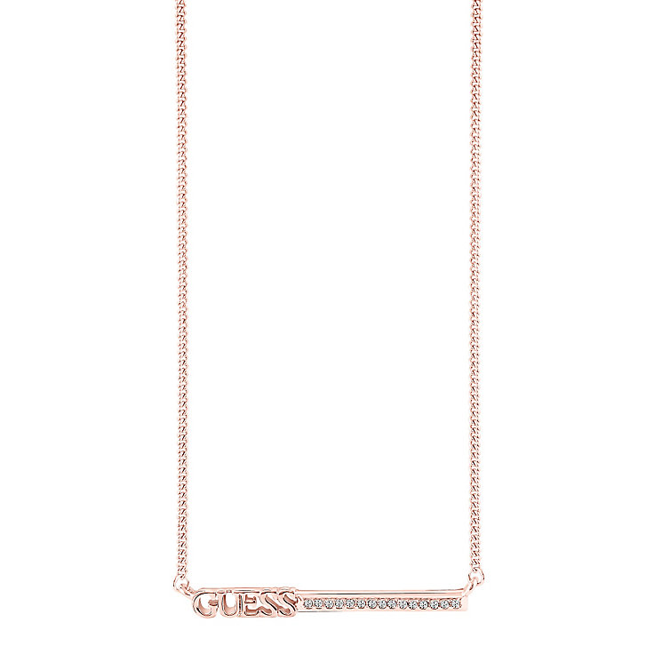 "Guess Rose Gold-Plated Stone Set Bar Necklace 16-18"" - Product number 5121280"