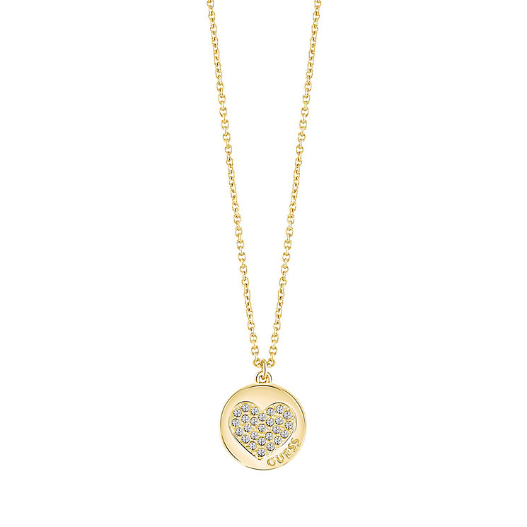 "Guess Gold-Plated Little Sparkle Heart Coin Pendant 16-18"" - Product number 5121310"
