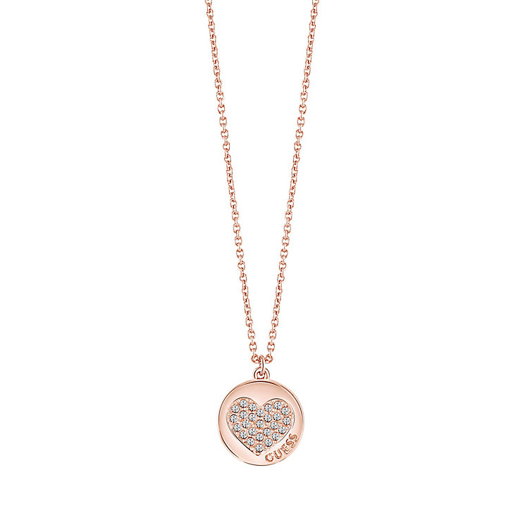 "Guess Rose Gold-Plated Little Sparkle Heart Pendant 16-18"" - Product number 5121329"