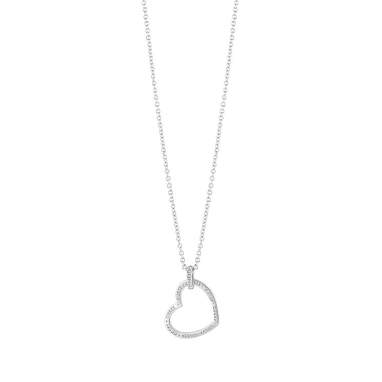 "Guess Rhodium-Plated Stone Set Heart Frame Pendant 16-18"" - Product number 5121353"