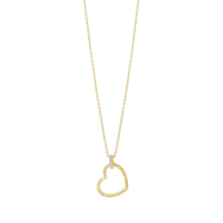 "Guess Gold-Plated Stone Set Heart Frame Pendant 16-18"" - Product number 5121361"