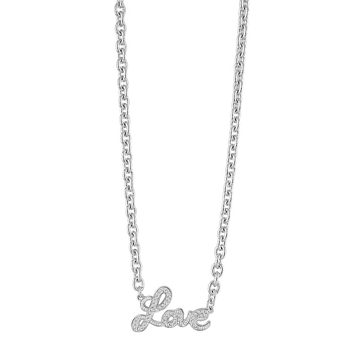 Guess Rhodium-Plated Stone Set Love Lock Necklace - Product number 5121396