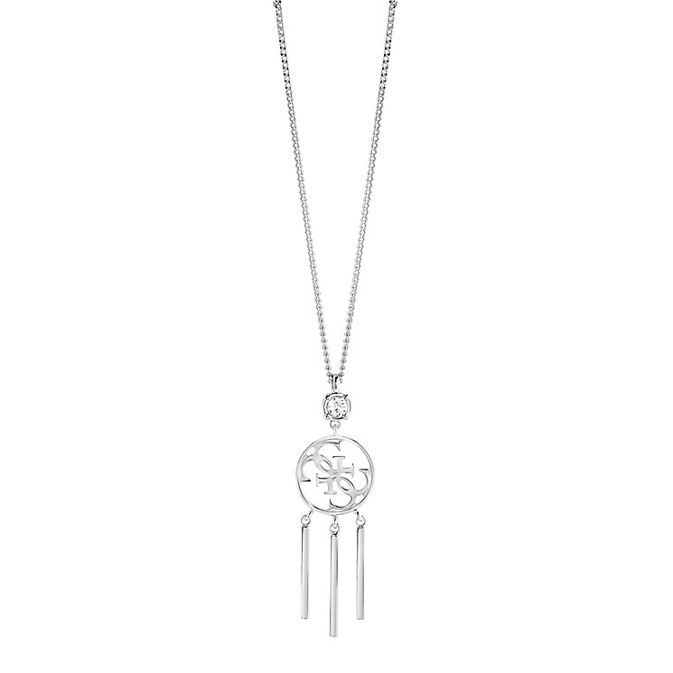 "Guess Quattro G Rhodium-Plated Tasselled Pendant 16-18"" - Product number 5121442"