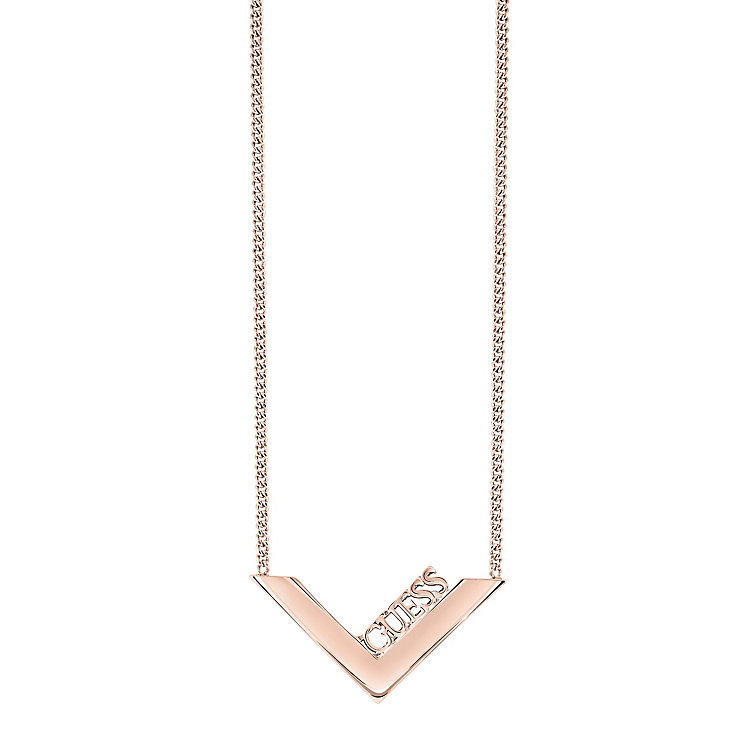 "Guess Rose Gold-Plated V-Shaped Necklace 16-18"" - Product number 5121477"