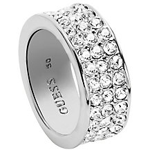 Guess Rhodium-Plated 3 Row Pave Stone Set Ring Size 56 - Product number 5121523