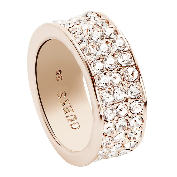 Guess Rose Gold-Plated 3 Row Pave Stone Set Ring Size 52 - Product number 5121566