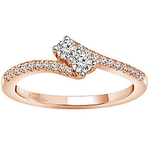 Ever Us 14ct Rose Gold 1/3 Carat Diamond 2 Stone Ring - Product number 5124328