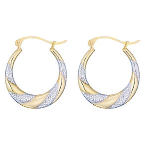 Bonded Silver & 9ct Gold Creole Earrings - Product number 5127823