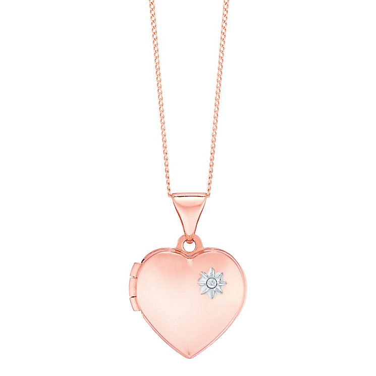 "9ct Rose Gold Diamond Set Heart Locket With 18"" Chain - Product number 5127831"