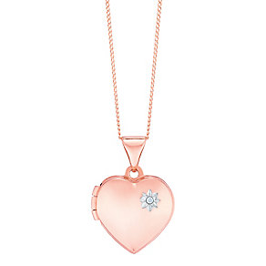 """9ct Rose Gold Diamond Set Heart Locket With 18"""" Chain - Product number 5127831"""