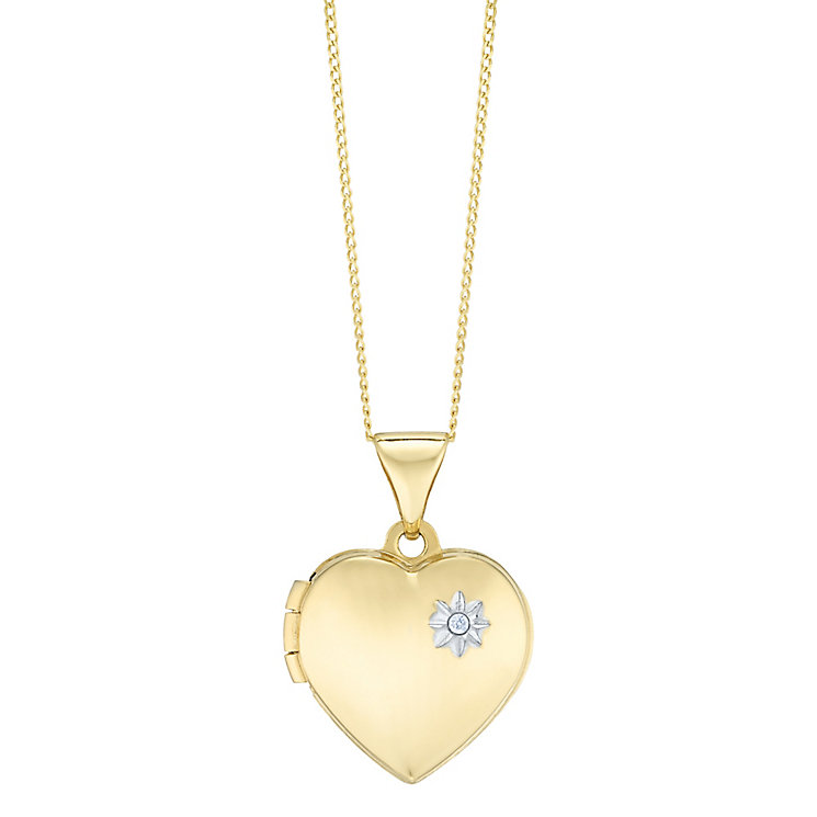 "9ct Gold Diamond Set Heart Locket With 18"" Chain - Product number 5127858"