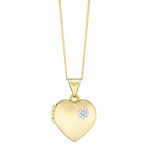 """9ct Gold Diamond Set Heart Locket With 18"""" Chain - Product number 5127858"""