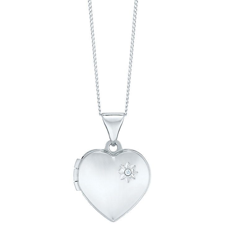 "9ct White Gold Diamond Set Heart Locket With 18"" Chain - Product number 5127874"