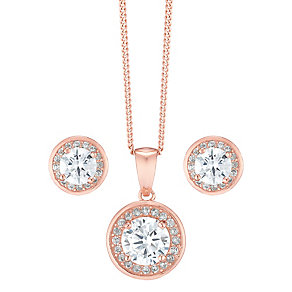 Rose Gold-Plated Cubic Zirconia Pendant & Stud Earrings - Product number 5127920