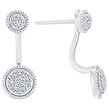 Sterling Silver Diamond Set Front & Back Stud Earrings - Product number 5129869