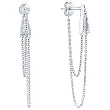 Sterling Silver Diamond Set Chain Drop Earrings - Product number 5129923