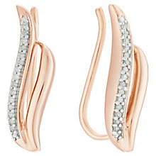 Sterling Silver & 9ct Rose Gold-Plated Diamond Ear Climbers - Product number 5129931