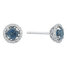 Sterling Silver London Blue Topaz & Diamond Stud Earrings - Product number 5130069