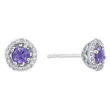 Sterling Silver Amethyst & 0.10 Carat Diamond Stud Earrings - Product number 5130077