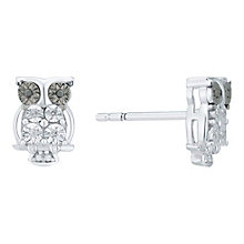 Sterling Silver Brown & White Diamond Set Owl Stud Earrings - Product number 5130395