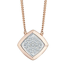 9ct Rose Gold Diamond Set Rhombus Pendant - Product number 5130689