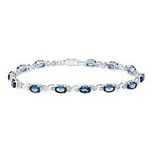 Sterling Silver London Blue Topaz & Diamond Bracelet - Product number 5131677
