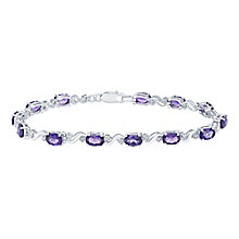Sterling Silver Amethyst & Diamond Bracelet - Product number 5131685