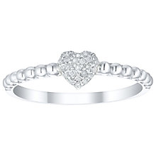 Sterling Silver Diamond Cluster Heart Stacker Ring - Product number 5134625