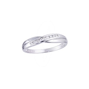 18ct White Gold Diamond Crossover Ring