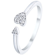 Sterling Silver Diamond Set Heart & Arrow Open Ring - Product number 5136407